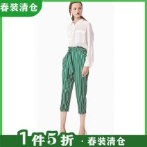 Casual pants Green bar S,M,L,XL Spring 2021 Ninth pants Overalls Natural waist commute routine 30% and below Other / other hemp hemp