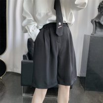 Casual pants Others Youth fashion Dark grey, black M,L,XL,2XL thin Shorts (up to knee) Other leisure easy 501-1-DK03-P25 summer Exquisite Korean style 2021 middle-waisted Solid color Fashion brand
