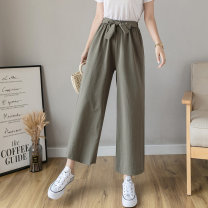 Casual pants Black, apricot, army green S,M,L,XL,2XL Spring 2021 Ninth pants Wide leg pants High waist commute Thin money 18-24 years old M Korean version bow