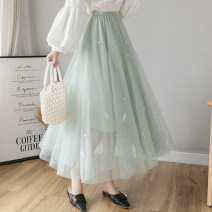 skirt Spring 2021 Average size Apricot, green, black, pink longuette commute High waist Fairy Dress Solid color Type A 18-24 years old F 30% and below Three dimensional decoration Korean version 201g / m ^ 2 (including) - 250G / m ^ 2 (including)