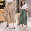 Casual pants Average size Spring 2021 Ninth pants Wide leg pants High waist commute 18-24 years old 81% (inclusive) - 90% (inclusive) G cotton Korean version pocket cotton