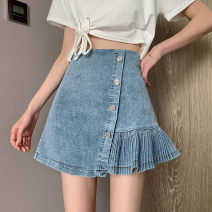 skirt Summer 2021 S M L blue Short skirt sexy High waist A-line skirt Solid color Type A 18-24 years old Denim Knocking head Button Pure e-commerce (online only)