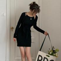 Fashion suit Autumn 2020 S, M Coat - black, coat - grey, coat - orange, long skirt - black, long skirt - grey, long skirt - orange, short skirt - black, short skirt - grey, short skirt - orange TX2080503 91% (inclusive) - 95% (inclusive) cotton