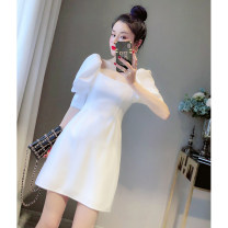 Dress Spring 2021 white XS,S,M,L Short skirt singleton  elbow sleeve commute square neck High waist Solid color A-line skirt puff sleeve 25-29 years old Type A