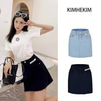skirt Summer 2021 S,M,L Light blue, black Versatile High waist A-line skirt Type A Denim