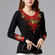 Middle aged and old women's wear Winter of 2019, autumn of 2019 Red flower (double layer mesh without cashmere), red flower (cashmere and thickening) XL,XXL,XXXL,4XL,5XL,6XL ethnic style T-shirt Self cultivation singleton  Flower and bird pattern 40-49 years old Socket moderate Crew neck routine