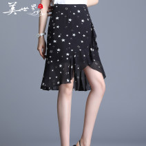 skirt Summer 2020 M,L,XL,2XL,3XL,4XL Star flower, music flower Middle-skirt Versatile High waist Irregular Decor 81% (inclusive) - 90% (inclusive) Chiffon polyester fiber