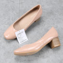 Low top shoes Other / other Nude color Square head PU Thick heel Middle heel (3-5cm) Shallow mouth PU Spring 2020 Trochanter commute Adhesive shoes Youth (18-40 years old) Solid color rubber Single shoes PU daily Patent leather