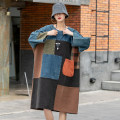 Dress Spring 2021 Color matching long sleeve, color matching short sleeve One size fits all - Loose Mid length dress singleton  Long sleeves commute Crew neck Loose waist Solid color Socket Pencil skirt routine 25-29 years old Type H Make old, splice cotton