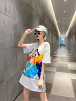T-shirt white M,L,XL,2XL Spring 2021 Short sleeve Crew neck Straight cylinder Medium length routine commute cotton 51% (inclusive) - 70% (inclusive) 30-34 years old Korean version other Other / other