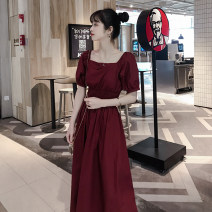 Dress Summer 2020 claret S,M,L,XL Mid length dress singleton  Short sleeve commute square neck Elastic waist Solid color Socket puff sleeve Others Type A Korean version 31% (inclusive) - 50% (inclusive) Chiffon