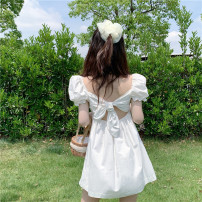 Dress Summer 2021 White spot S,M,L Short skirt singleton  Short sleeve commute square neck High waist Solid color Socket other Others Other / other