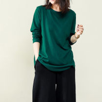 Women's large Autumn of 2018 White, black, green Big size average T-shirt singleton  commute easy Socket Long sleeves Solid color literature Crew neck have cash less than that is registered in the accounts cotton routine mmsy2018101516/20190818 96% and above