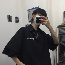 shirt Youth fashion Others Average size Blue, black routine other Short sleeve easy Travel? summer teenagers Cotton 100% Basic public 2020 Solid color Embroidery