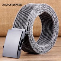 Belt / belt / chain canvas black male belt Versatile Single loop Children, youth, middle age Automatic buckle Geometric pattern soft surface 3.8cm