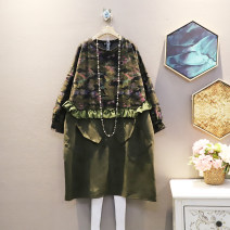 Dress Winter 2020 Army green Average size Mid length dress singleton  Long sleeves commute other Loose waist other Socket One pace skirt routine Others 25-29 years old Type A Korean version 30% and below other polyester fiber