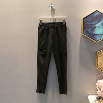 Casual pants black XL,2XL,3XL,4XL Autumn of 2019 trousers Pencil pants Natural waist Versatile routine 25-29 years old 30% and below cotton