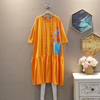 Dress Summer 2021 Orange, grey Average size Mid length dress singleton  Short sleeve commute Crew neck Loose waist other Socket A-line skirt routine Others 25-29 years old Type A Korean version 30% and below other cotton