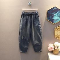 Jeans Autumn 2020 blue M,L,XL,2XL Ninth pants Natural waist Haren pants routine 25-29 years old Cotton elastic denim 30% and below