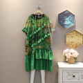 Dress Summer 2021 green Average size Mid length dress singleton  Short sleeve commute Crew neck Loose waist Decor Socket A-line skirt routine Others 25-29 years old Type A Korean version 30% and below other polyester fiber