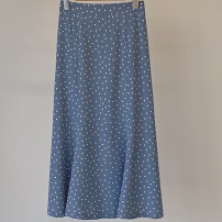 skirt Summer 2020 Average size Black, sky blue longuette commute High waist A-line skirt Dot Type H 25-29 years old 51% (inclusive) - 70% (inclusive) Chiffon nylon printing Korean version