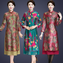 Middle aged and old women's wear Spring of 2019, autumn of 2019 noble Dress easy Fake two pieces Retro Design 40-49 years old Conjoined moderate stand collar Medium length routine fold Others, polyester A button Medium length Polyester other