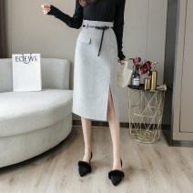 skirt Winter 2020 S,M,L,XL,2XL Gray, off white, black Mid length dress High waist skirt