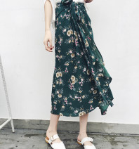 skirt Summer of 2018 One size fits all Mid length dress Sweet High waist A-line skirt Decor Type A Bow, tie, print Bohemia