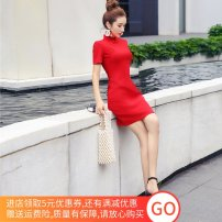 Dress Summer of 2019 Red, black S,M,L,XL,2XL Middle-skirt singleton  Short sleeve commute stand collar High waist Solid color zipper One pace skirt other Others 18-24 years old T-type Retro Panel, zipper 81% (inclusive) - 90% (inclusive)