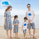 Parent child fashion [beach pants], skirt A family of three Female, male Three whales Blue Leaf flax summer leisure time Thin money Broken flowers skirt other M,L,S Blue Leaf flax Flax 100% Class B M,L,XL,XXL
