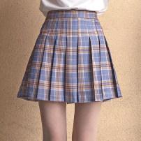 skirt Summer of 2018 S,M,L,XL,2XL Short skirt Sweet High waist Pleated skirt lattice Type A 18-24 years old 71% (inclusive) - 80% (inclusive) cotton zipper college