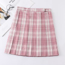 skirt Autumn 2020 S,M,L,XL Short skirt Sweet High waist Pleated skirt lattice 18-24 years old college