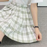 skirt Summer 2020 S,M,L,XL Short skirt Sweet High waist Pleated skirt lattice 18-24 years old 71% (inclusive) - 80% (inclusive) cotton solar system