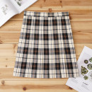 skirt Autumn of 2019 S,M,L,XL Short skirt Sweet High waist Pleated skirt lattice 18-24 years old 71% (inclusive) - 80% (inclusive) cotton solar system