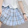skirt Summer 2020 S,M,L,XL Universe lattice 43cm skirt, universe lattice 48CM skirt Short skirt Sweet High waist Pleated skirt lattice 18-24 years old H-035 71% (inclusive) - 80% (inclusive) cotton solar system