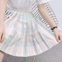 skirt Summer 2020 S,M,L,XL Orange white check skirt, pink green check skirt, brown white check skirt Short skirt Sweet High waist Pleated skirt lattice 18-24 years old D-037 71% (inclusive) - 80% (inclusive) cotton solar system