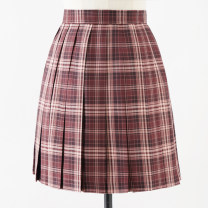 skirt Summer 2020 S,M,L,XL Red prisoner 43cm skirt, red prisoner 48CM skirt Short skirt Sweet High waist Pleated skirt lattice 18-24 years old M-035 More than 95% polyester fiber solar system