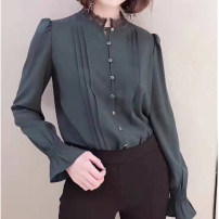 shirt 2 / s, 3 / m, 4 / L, 5 / XL Spring of 2019 Cellulose acetate 51% (inclusive) - 70% (inclusive) Long sleeves commute Regular Crew neck Single row multi button routine Solid color 25-29 years old Straight cylinder Novel goldette Korean version