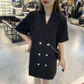 Dress Spring 2021 Black, white Average size longuette singleton  Long sleeves commute Crew neck High waist Solid color Socket A-line skirt routine 18-24 years old Type A Button, stitching cotton