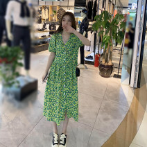 Dress Spring 2021 Green, yellow, little Chrysanthemum Average size longuette Two piece set Long sleeves commute Crew neck High waist Broken flowers Socket A-line skirt routine 25-29 years old Type A printing Chiffon polyester fiber