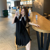 Dress Spring 2021 Black, blue Average size Long sleeves commute Crew neck Solid color routine 18-24 years old 51% (inclusive) - 70% (inclusive) cotton