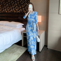 Dress Summer 2021 blue S,M,L,XL longuette singleton  three quarter sleeve commute V-neck High waist Decor One pace skirt routine Breast wrapping Type A Korean version Printing, stitching, lace up, bandage, printing / dyeing other