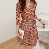 Dress Summer 2021 Orange check S,M,L,XL Middle-skirt singleton  three quarter sleeve commute V-neck High waist lattice other One pace skirt routine Breast wrapping Type A Korean version Print, stitching, lace up, bandage