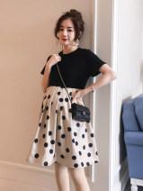 Dress maternity dress M,L,XL,XXL Korean version Short sleeve Medium length summer Crew neck Dot Cotton ammonia