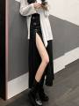 skirt Autumn 2020 S. M, l, average size Black irregular metal button skirt, white irregular top, black skirt + complexion Plush pantyhose longuette commute High waist Irregular Solid color Type X 25-29 years old 30% and below brocade cotton Hollowed out, asymmetric, stitched
