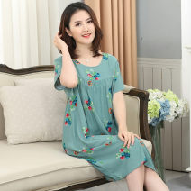 Nightdress Teng song One size fits all (115-160 kg) Sweet Short sleeve Middle-skirt summer Broken flowers Crew neck viscose  printing Rayon / cotton / cotton