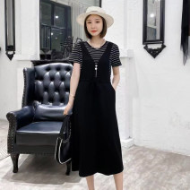 Dress Summer 2021 White, stripe M,L,XL,2XL,3XL Mid length dress Fake two pieces Short sleeve commute Crew neck High waist stripe Socket A-line skirt routine Others 25-29 years old Type A Ou Mingyi Korean version Pocket, lace up, panel, button 2550# 71% (inclusive) - 80% (inclusive) knitting cotton