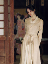 Dress Autumn of 2019 Light smoke powder S,M,L Mid length dress Fake two pieces Long sleeves commute V-neck middle-waisted Solid color zipper A-line skirt routine Others 25-29 years old Type A Pillow dream Village Retro A0225 other hemp