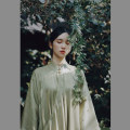 cheongsam Autumn of 2019 Matching bottom is a search, cuff embroidery and clothes are one, one size [green shirt] Light olive green Long sleeves long cheongsam Retro High slit Oblique lapel 25-35 years old Embroidery A0230 Pillow dream Village 71% (inclusive) - 80% (inclusive)