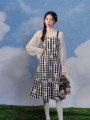 Dress Spring 2021 Plaid suspender skirt S. M, l, average size Mid length dress other Long sleeves commute other middle-waisted lattice zipper A-line skirt routine camisole 25-29 years old Type A Pillow dream Village Button A0365 More than 95% other polyester fiber